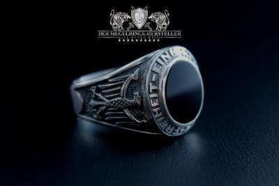 Traditions-Ring der Artillerie Größe 55 Jäger-Grün (Achat, flach)