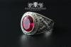 """F207"" Frigate Bremen Coat Navy Signet Ring size 60 ruby red"