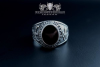 """F207"" Frigate Bremen Coat Navy Signet Ring size 61 sapphire blue"