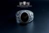"""""""F207"""" Frigate Bremen Coat Navy Signet Ring size 62 onyx black"""