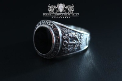 Traditional ring of sailors size 71 onyx black