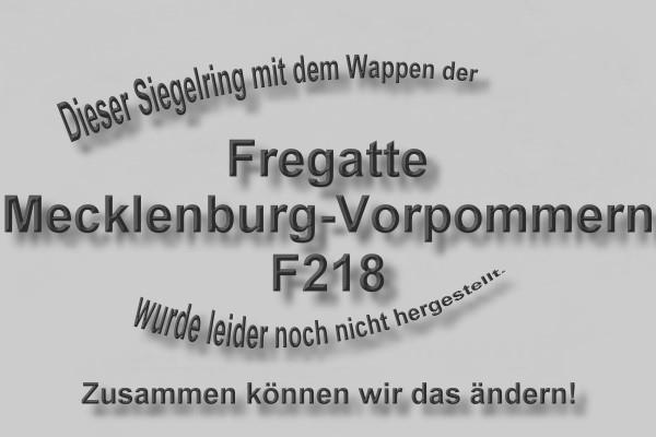 """""""F218"""" Fregatte Mecklenburg-Vorpommern Wappen Marine-Siegelring Größe 60"""