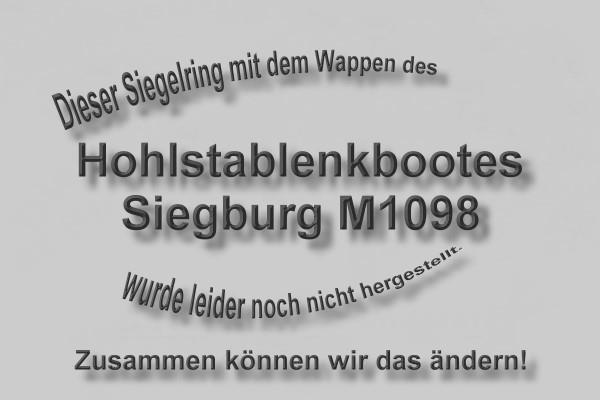 """""""1098"""" Hohlstablenkboot Siegburg Wappen Marine-Siegelring Größe 72"""