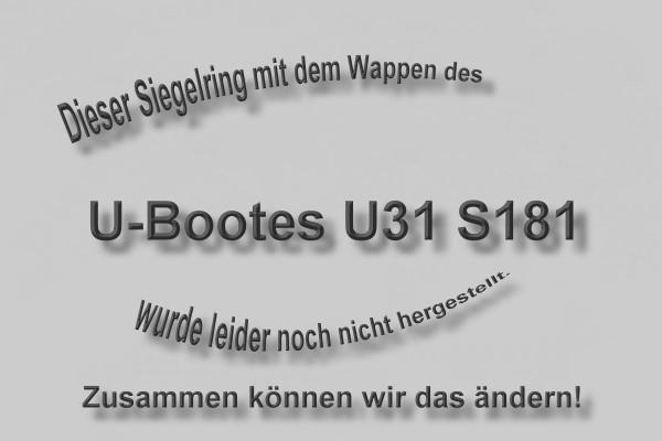 """""""S181"""" U-Boot U31 Wappen Marine-Siegelring Größe 66"""