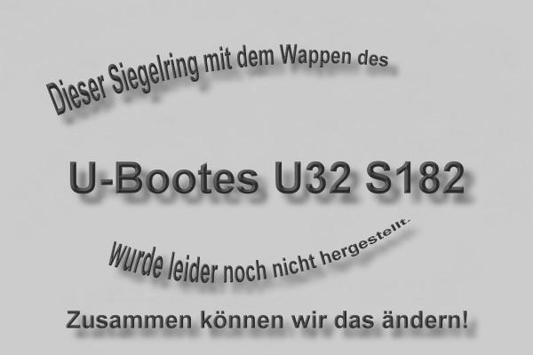 """""""S182"""" U-Boot U32 Wappen Marine-Siegelring Größe 69"""