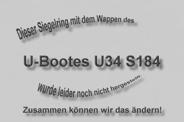 """""""S184"""" U-Boot U34 Wappen Marine-Siegelring Größe 54"""