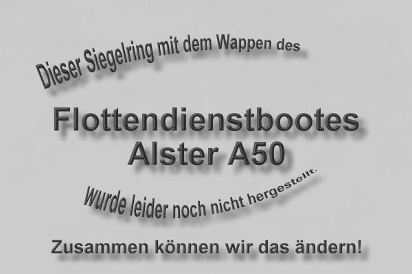 """A50"" Flottendienstboot Alster Wappen Marine-Siegelring Größe 69"