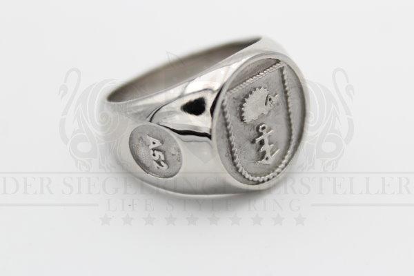 """""""A52"""" Flottendienstboot Oste Wappen Marine-Siegelring mit intern. Rufzeichen"""