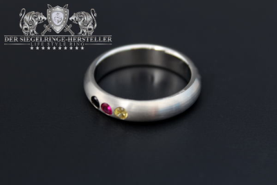 Custom Signet Ring of Silver Zirconia, Black Zirconia, Green Zirconia, Green
