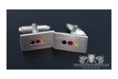 Custom Signet Ring of Silver Zirconia, Orange Zirconia,...