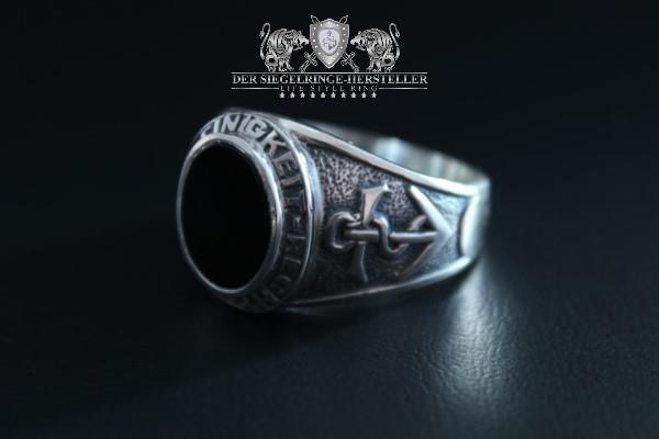 Traditions-Ring des seemännischen Dienstes Größe 56 Turmalin-Pink